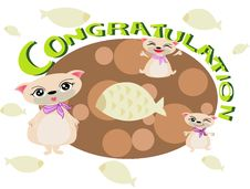 Free Cat Congratulation FOR U Royalty Free Stock Image - 18452096