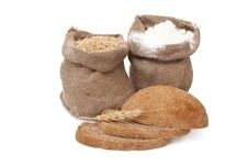 Free Flour And Wheat Grain With Bread Royalty Free Stock Image - 18452186