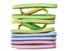 Side View Of Flip Flops Mix Color Collection Stock Photo