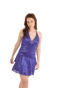 Woman Blue Dress Smile Walking Royalty Free Stock Photography