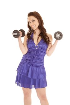 Free Woman Blue Dress Weights Both Up Royalty Free Stock Photo - 18453255