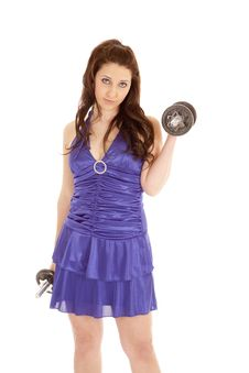 Woman Blue Dress Weights Serious Stock Image