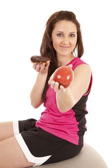 Woman Fitness Hand Apple Keep Donut Stock Image