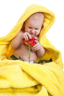 Free Lovely Baby Holding A Red Rose Stock Images - 18453474