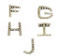 Free Coins Font; F,G,H,I,J Stock Images - 18453494