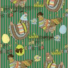 Free Easter Seamless Pattern With Chicken And Cock Stock Photography - 18453772