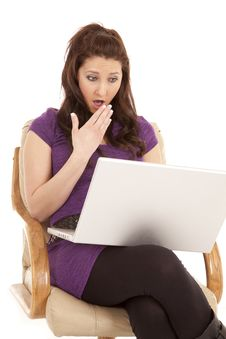 Free Woman Purple Shocked Laptop Royalty Free Stock Photography - 18453797