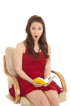 Free Woman Red Dress Book Sit Shocked Looking Stock Photo - 18453880