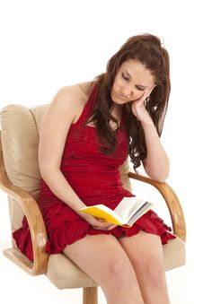 Free Woman Red Dress Book Sit Unhappy Stock Photos - 18453893