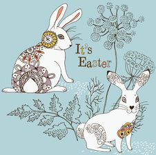 Free Easter Card With Rabbit Royalty Free Stock Photo - 18454535