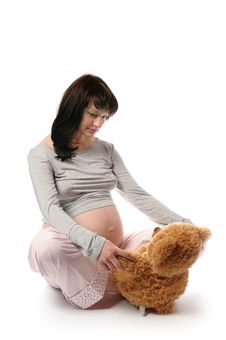 Free Pregnant Woman With Bear Toy Stock Images - 18454754