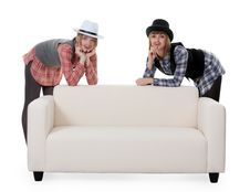 Free Two Girls On The Couch Royalty Free Stock Photos - 18455028