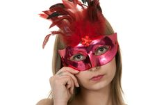 Free Girl In The Red Masquerade Mask Royalty Free Stock Images - 18455029