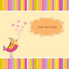 Free Cute Love Card With Bird Royalty Free Stock Photos - 18455038