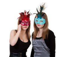 Free Two Girl In The Masquerade Mask Royalty Free Stock Photos - 18455308