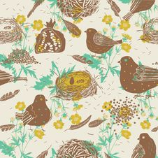 Free Birds And Nests. Seamless Pattern Royalty Free Stock Photo - 18455335