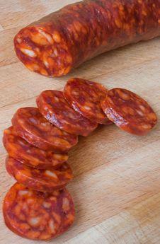 Free Chorizo, Slicing Sausage Stock Photos - 18455653