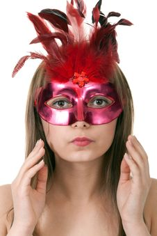 Free Girl In The Red Masquerade Mask Stock Images - 18456124