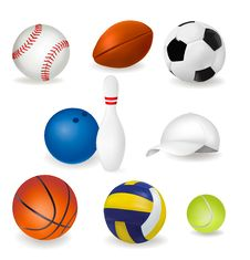 Big Set Of Sport Balls And Tennis Cap. Vector Stock Photography