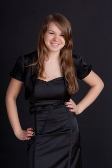 Free Young Girl In Black Dress Royalty Free Stock Photo - 18456835
