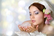 Lady-spring And Ice Stock Photography