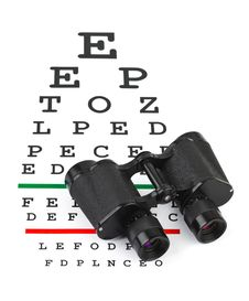 Free Binoculars On Eyesight Test Chart Royalty Free Stock Photography - 18457417