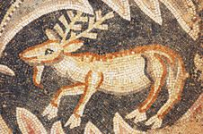 Close Up Of Fragment Of Antique Mosaic Stock Image