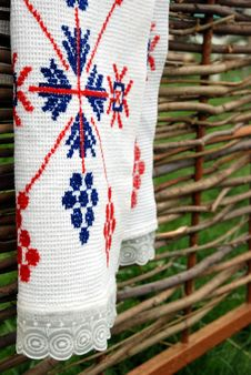 Free Embroidered Towel On The Fence. Royalty Free Stock Image - 18457556