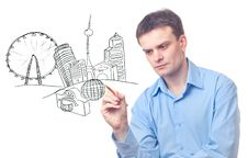 Free Businessman Drawing A City Stock Photo - 18457720