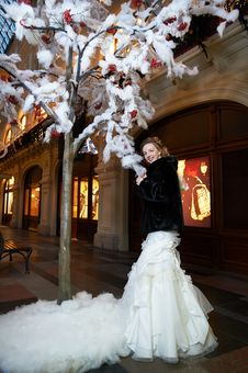 Beauty Bride Near Artifical Tree In Big Shop Stock Photos