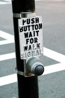 Button At Crosswalk. Royalty Free Stock Images