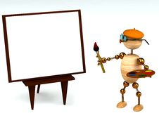 Free 3d Wood Man As A Painter Royalty Free Stock Photo - 18458685