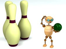 Free 3d Wood Man Is Playing Bowling Stock Image - 18458721