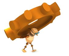 Free 3d Wood Man Carring A Gearwheel Royalty Free Stock Photography - 18458737