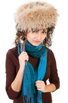 Free Pretty Girl In A Fur Hat Royalty Free Stock Photography - 18459127