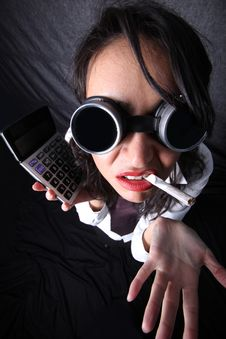 Woman With Calculator Stock Photos