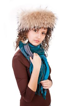 Free Pretty Girl In A Fur Hat Royalty Free Stock Photos - 18459248