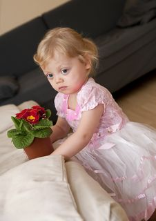 Girl Sits Next To The Sofa And Hold Flower Royalty Free Stock Photos