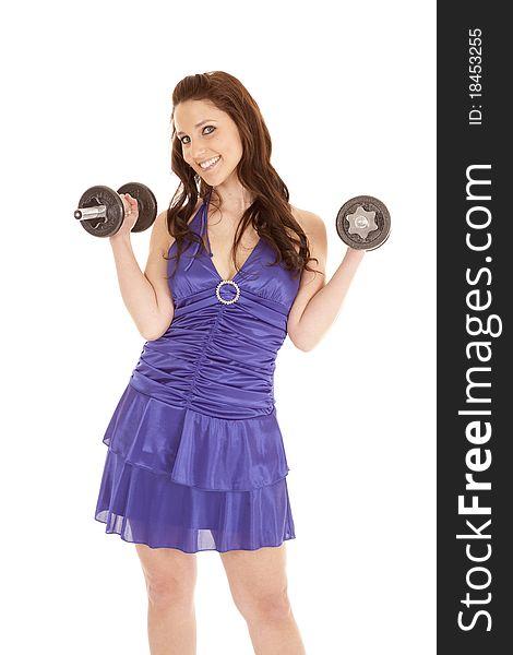 Woman blue dress weights both up