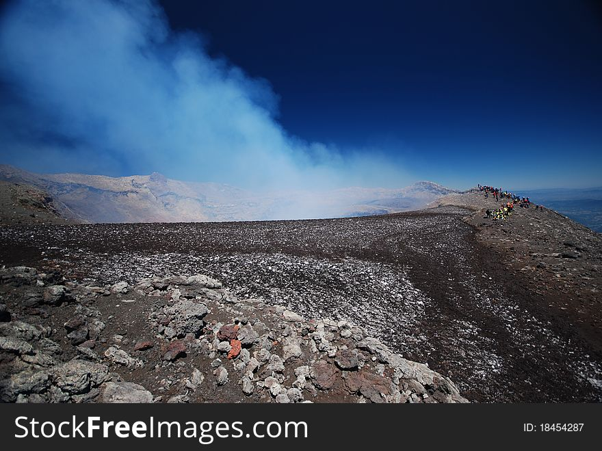 The top of a smoking active volcano