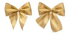 Isolated Golden Satin Bows Stock Photo