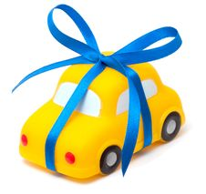 Free Toy Car Tied A Blue Ribbon Stock Photo - 18460280