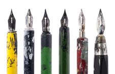 Free Collection Of Old Colorful Pens Royalty Free Stock Photography - 18460497