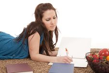 Girl Doing Homework Serious Royalty Free Stock Photo