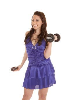 Woman Blue Dress Weights Donut Smile Royalty Free Stock Image