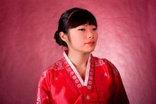 Free Elegant Chinese Model In Traditional Red Dress Royalty Free Stock Photo - 18469175
