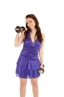 Woman Blue Dress Weights Smile Royalty Free Stock Image