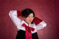 Free Elegant Chinese Model In Traditional Dress Royalty Free Stock Photos - 18469208