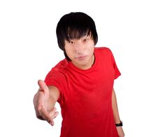 Free Asian Happy Man Give The Hand Royalty Free Stock Photography - 18469237