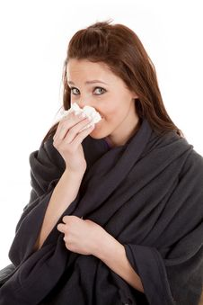 Free Woman In Blanket With Tissue Stock Photos - 18469473